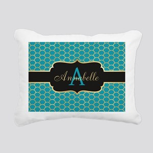 Teal Monogram Mermaid Scale Rectangular Canvas Pil